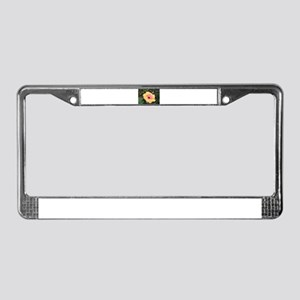 Pink yellow hibiscus flower License Plate Frame