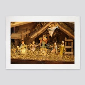 traditional nativity scene 5'x7'Area Rug