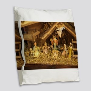 traditional nativity scene Burlap Throw Pillow