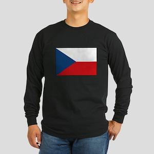 Czech Republic Flag Long Sleeve Dark T-Shirt