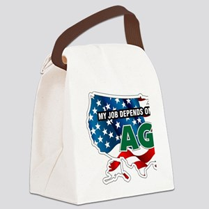 My Job Depends on Ag USA Canvas Lunch Bag