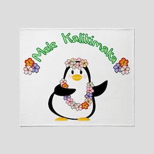 Mele Kalikimaka Penguin Throw Blanket