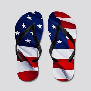 United States Flag in All Her Glory Flip Flops
