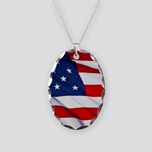 United States Flag in All Her Necklace Oval Charm