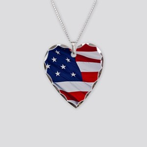 United States Flag in All Her Necklace Heart Charm