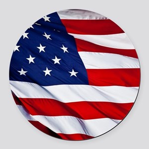 United States Flag in All Her Glo Round Car Magnet