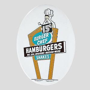 Vintage Burger Chef Sign Oval Ornament