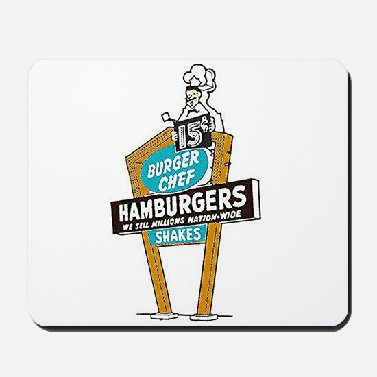 Vintage Burger Chef Sign Mousepad