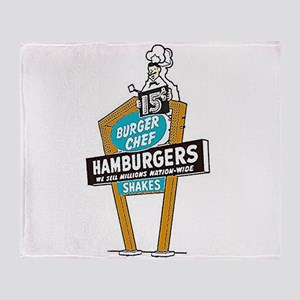 Vintage Burger Chef Sign Throw Blanket