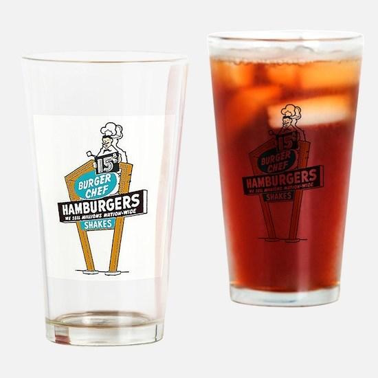 Vintage Burger Chef Sign Drinking Glass