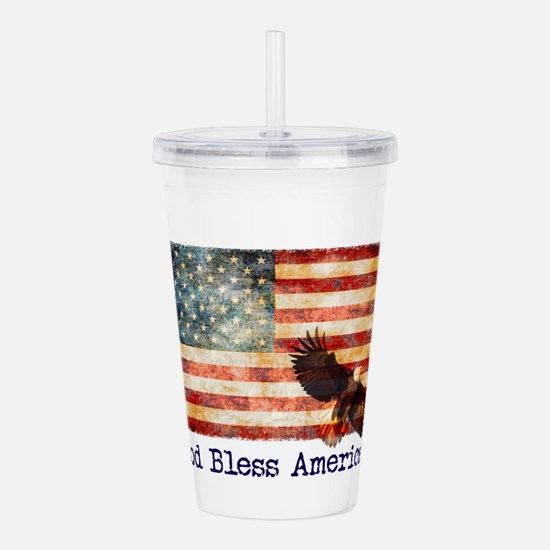 American Flag God Bles Acrylic Double-wall Tumbler