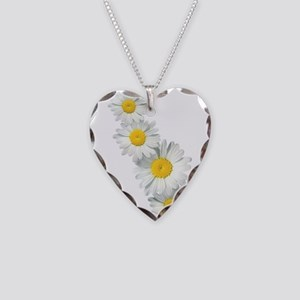 Shasta Daisies Necklace Heart Charm