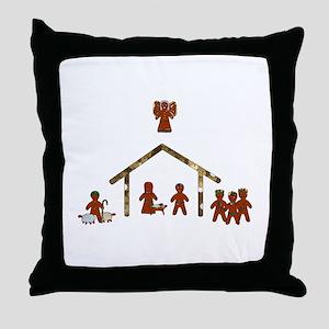 gingerbread nativity Throw Pillow