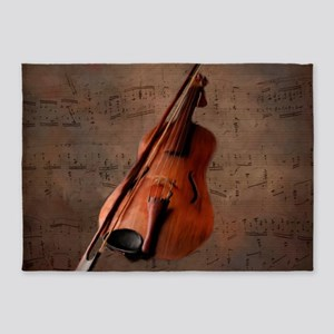 Painted Vintage Violin 5'x7'Area Rug