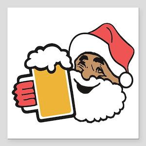 """Cheers Santa Square Car Magnet 3"""" x 3"""""""