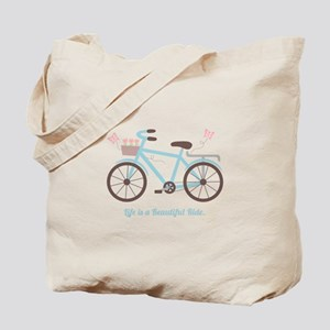 Life is a Beautiful Ride Bicycle Quote Tote Bag