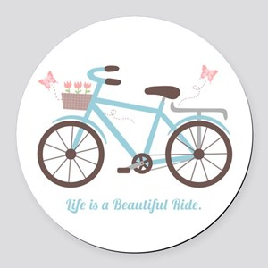 Life is a Beautiful Ride Bicycle Quote Round Car M