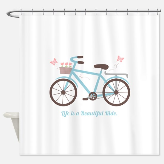 Life is a Beautiful Ride Bicycle Quote Shower Curt