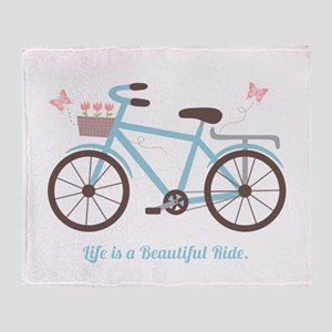 Life is a Beautiful Ride Bicycle Quote Throw Blank