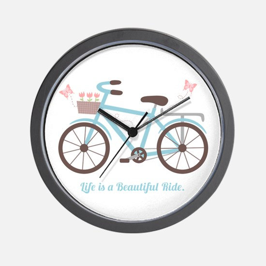 Life is a Beautiful Ride Bicycle Quote Wall Clock
