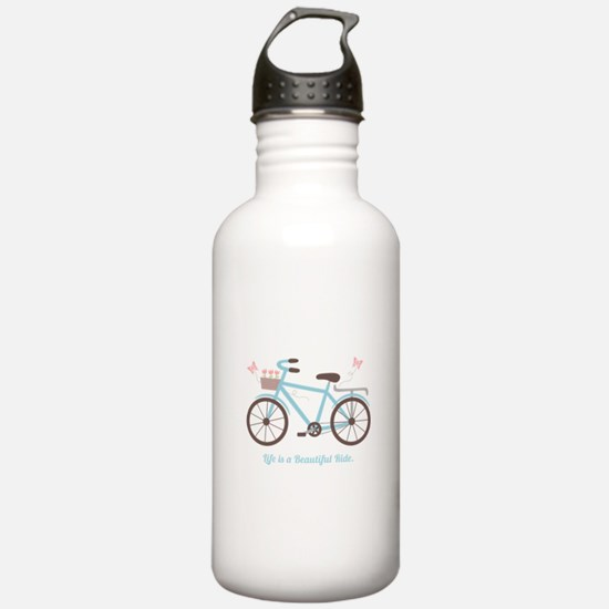 Life is a Beautiful Ride Bicycle Quote Water Bottl