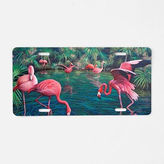 Cute Flamingo Aluminum License Plate