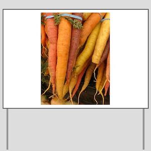 an assortment of long organic carrots in Yard Sign