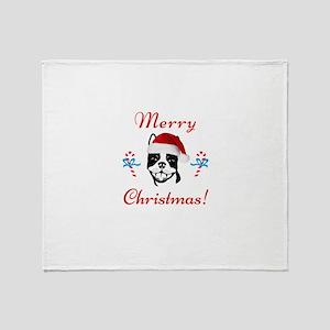 "Boston Terrier ""Merry Christmas"" Throw Blanket"