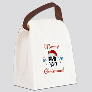 """Boston Terrier """"Merry Christmas"""" Canvas Lunch Bag"""