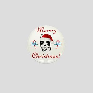"""Boston Terrier """"Merry Christmas"""" Mini Button"""