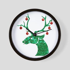 sequin christmas reindeer Wall Clock
