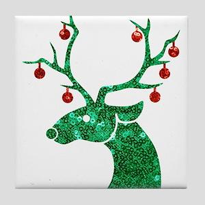 sequin christmas reindeer Tile Coaster