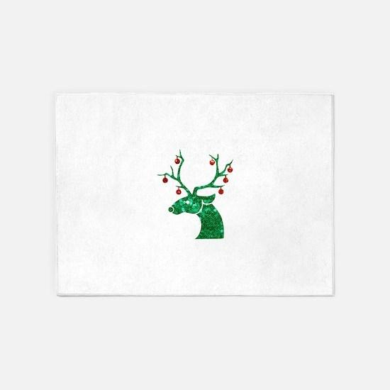 sequin christmas reindeer 5'x7'Area Rug