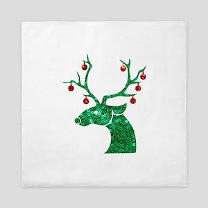 sequin christmas reindeer Queen Duvet