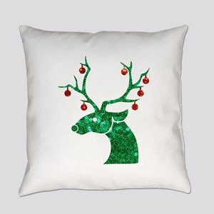 sequin christmas reindeer Everyday Pillow