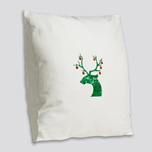 sequin christmas reindeer Burlap Throw Pillow