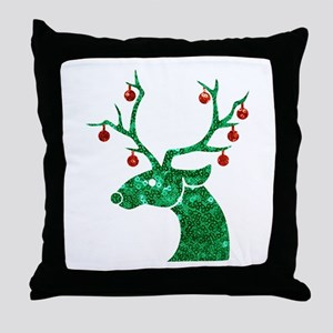 sequin christmas reindeer Throw Pillow