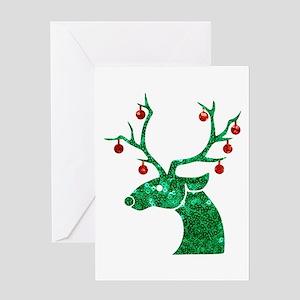 sequin christmas reindeer Greeting Cards