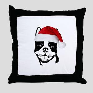 """Boston Terrier """"Santa"""" Throw Pillow"""