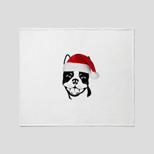 """Boston Terrier """"Santa"""" Throw Blanket"""