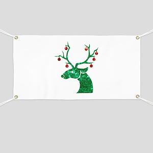 sequin christmas reindeer Banner