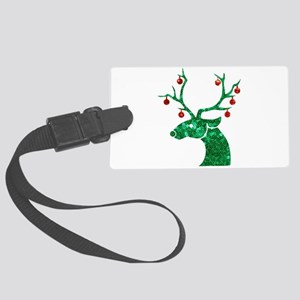 sequin christmas reindeer Large Luggage Tag
