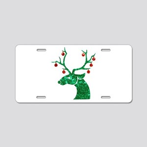sequin christmas reindeer Aluminum License Plate