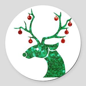 sequin christmas reindeer Round Car Magnet