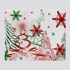 Abstract Green and Red Christmas Tre Throw Blanket