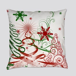 Abstract Green and Red Christmas T Everyday Pillow