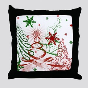 Abstract Green and Red Christmas Tree Throw Pillow