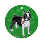 Boston Terrier With Candy Cane Round Ornament