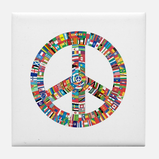 Peace to All Nations Tile Coaster