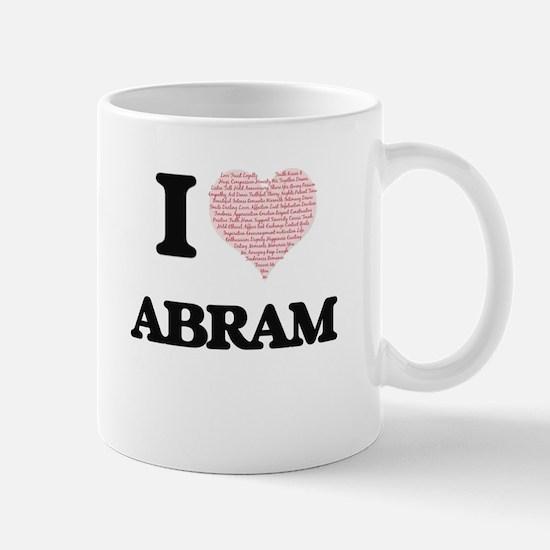 I Love Abram (Heart Made from Love words) Mugs